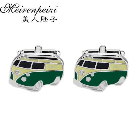 Запонки с эмблемой автобуса в стиле ретро