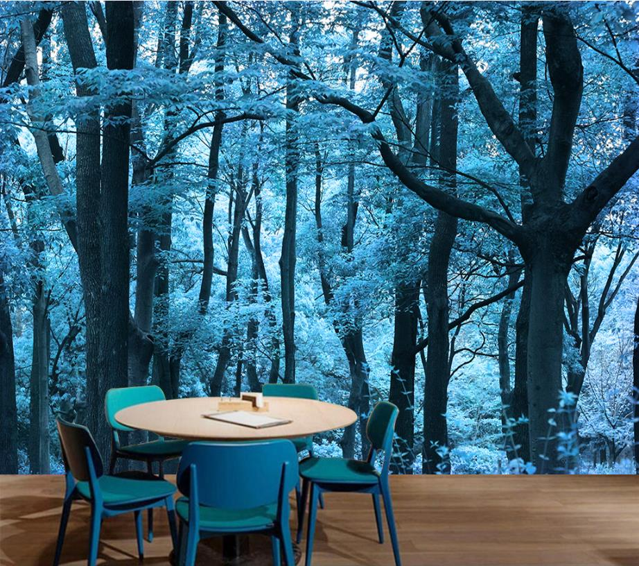 Wall papers Home Decor Plants Blue Woods 3D Stereoscopic Landscape Large Backdrop Bathroom Wallpaper Home Improvement