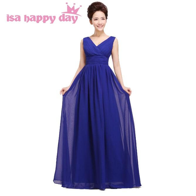 Formelle demoiselle d'honneur bleu royal robes longue longueur de plancher bridemaids col en v rouge robe en mousseline de soie grande taille nouvelle mode 2019 H1180
