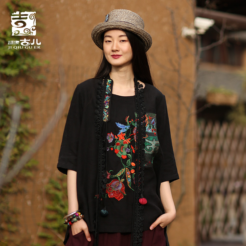 Jiqiuguer Original Design Ethnic Women s Summer Wear Shirts Retro Loose Embroidered Cotton and Linen Blouse