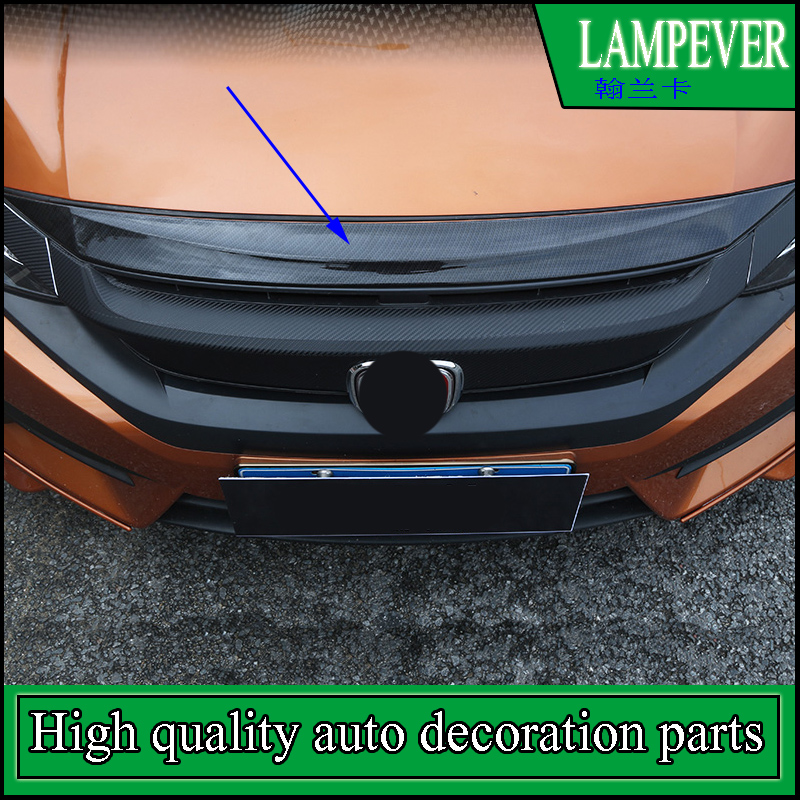 Car Styling ABS Front Engine Machine Lid Cover Trim For Honda Civic 2016 2017 4 Door Sedan bonnet of an engine stickers Trim 2pcs abs car interior accessories center control side strip cover trim for land rover lr4 discovery 4 2013 2016 car styling