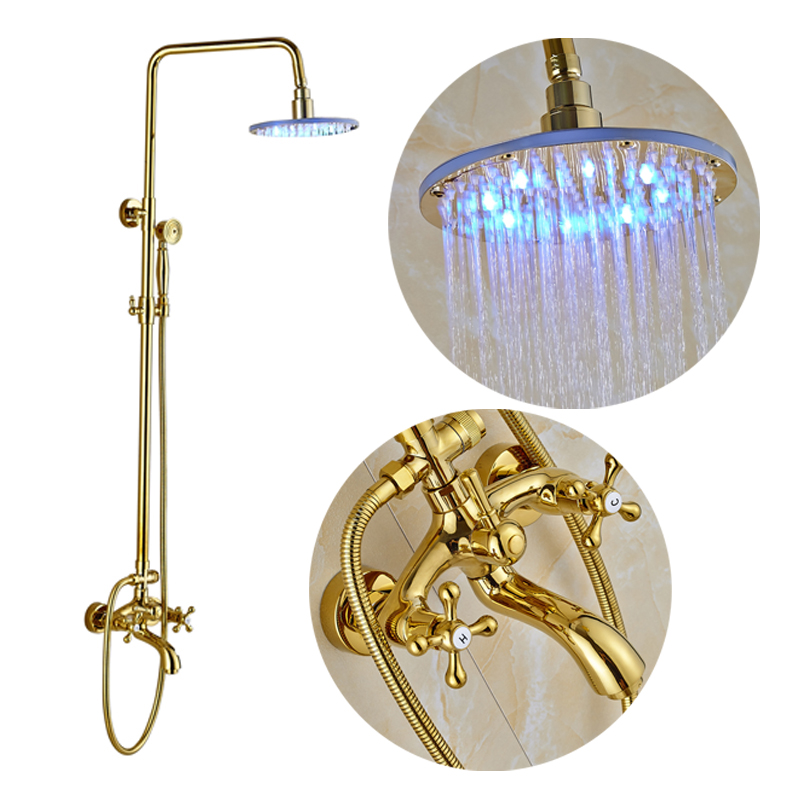 Luxury Golden Color Bathroom Shower Faucet 10 LED Rainfall Shower Head Bathub Mixer Tap with Hand Shower бумажник golden head портмоне 3331501