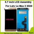 5.7 pulgadas nuevo para letv le leeco max 2 max2 x820 pantalla lcd + touch panel digitalizador asamblea lcd de repuesto 1440x2560