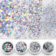 4 Boxes Holographic Glitter Sequins Hexagon 1MM2MM3MM Long Strips Nail Powder 3D Art Decoration
