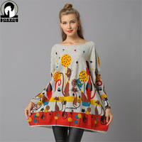 Autumn Winter Knitted Wool Sweater Women Long Batwing Sleeve Slash Neck Loose Pullover Cartoon Cute Cat