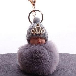 DIEZI Fake Rabbit Fur Ball KeyChain Pompom Crown Sleeping Baby Key Chain Pom Pom Key Rings Ballet Girl Women Bag Jewelry(China)