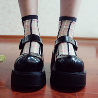 Girls Womens Mary Jane Block Heel Round Toe Vintage Buckle Creeper Gothic Shoes Lolita Cosplay Black Platform A364