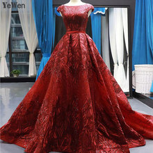 2020 Women Elegant Evening Dresses Long Lace Short Sleeve Backless Printing Wine Red Formal Party Ball Gowns Robe De Soiree