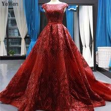 2020 kadın zarif abiye uzun dantel kısa kollu Backless baskı şarap kırmızı örgün parti balo elbisesi Robe De Soiree