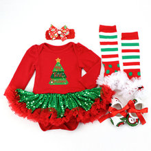 Christmas Baby Costumes Romper Dress Santa Claus Cosplay Party Outfits