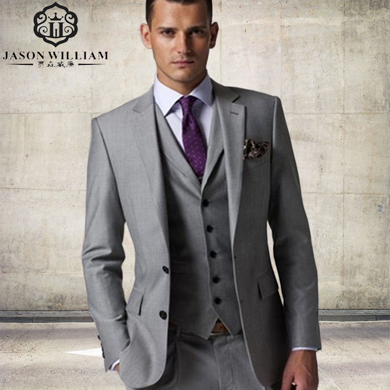 LN027 Arrival Custom Made Light Gray Tailcoat Men Suit Set