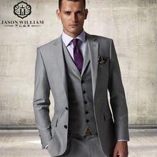 LN027 Arrival Custom made Light Gray Tailcoat Men Suit Set Dress Slim Wedding Suits Mens gray Groom Tuxedos( jacket+Pants+vest)