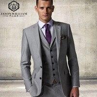 New Arrival Custom Made Light Gray Tailcoat Men Suit Set Dress Slim Wedding Suits Mens Gray