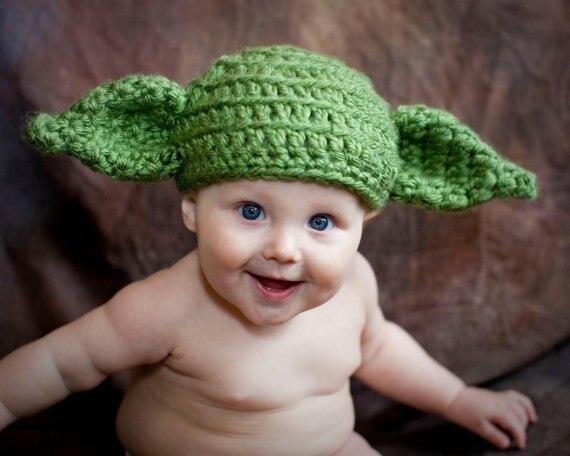 Free shipping Crochet Baby Hat Handmade Newborn Baby Beanie Yoda Baby Hat Photo prop