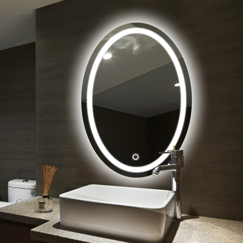 Oval bathroom LED lamp mirror wall hanging bathroom with light makeup mirror modern Touch switch bath mirror mx12151130 3