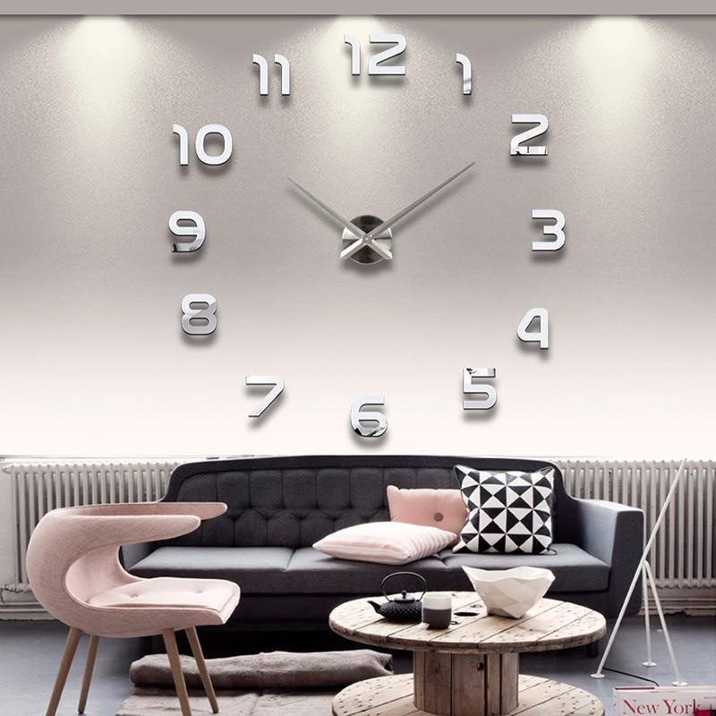 New 3D DIY Clock Watch Wall Clocks Horloge Acrylic Mirror Stickers Home Decoration Living Room Quartz Needle Free Shipping