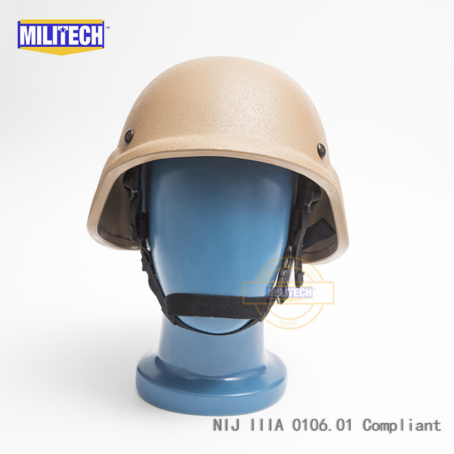MILITECH CB Coyote Brown PASGT NIJ IIIA 3A Full Cut Ballistic Bulletproof Aramid Bullet Proof Helmet With Lab Testing Videos