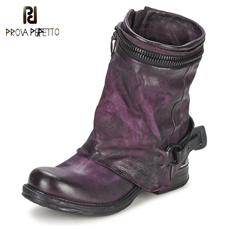 Prova Perfetto 2019 New Arrival Retro England Style Knight Boots Genuine Leather Square Toe Woman Shoes