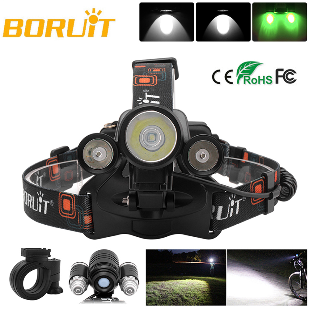 BORUiT LED Headlamp Bicycle light 3-Mode IPX5 Headlight RJ-1156 XML L2 green LED Cycling Light Head Torch Out Door light Frontal (1)
