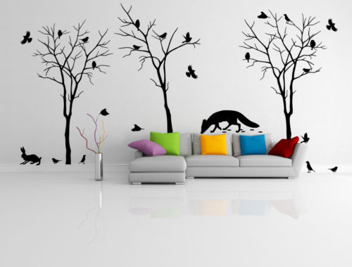 Vinyl wall decal trees fox flock of sparrows hare wall stickers home vinyl wall decal trees fox flock of sparrows hare wall stickers home decor wall stickers for kids roomsthroom and living room in wall stickers from home altavistaventures Images