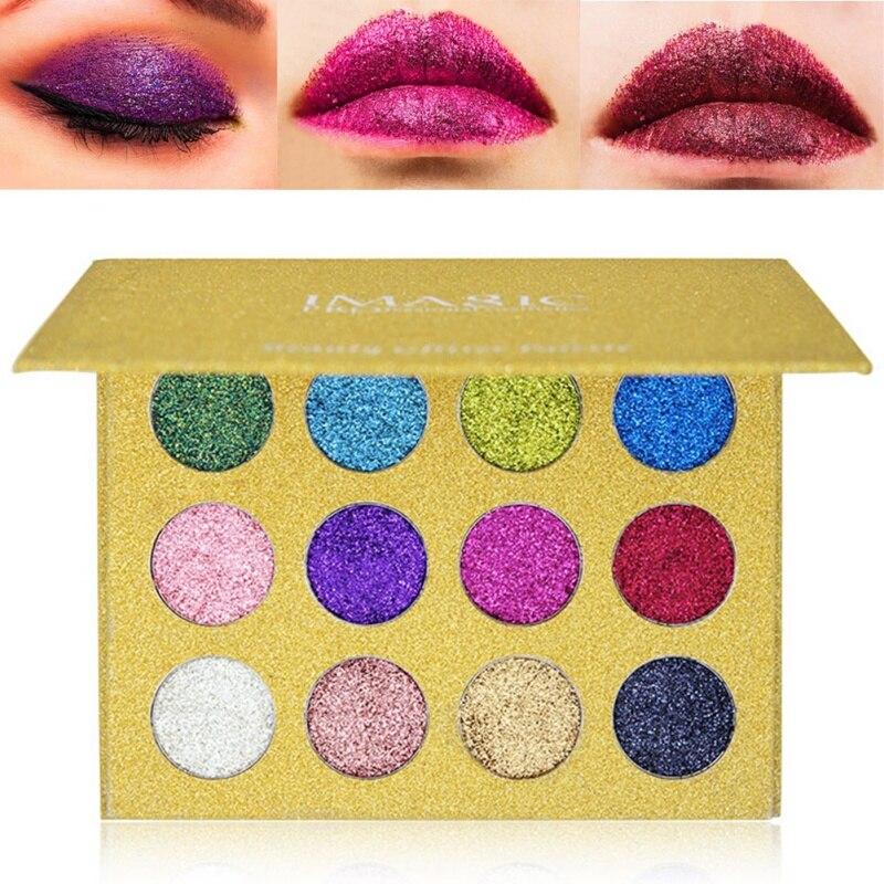 IMAGIC 12 krāsas mirdzošas acu ēnas aplauzums spilgti varavīksnes - Meikaps