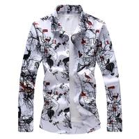 High Quality Print Men Shirt Brand New Autumn Winter Long Sleeve Men's Casual Shirts Plus Size 7XL 6XL 5XL Business Male Shirt