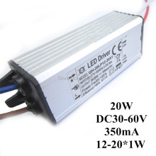 1 pçs/lote 20 W DC30-68V Watperproof IP67 Corrente Constante 350mA LED Driver 12-20x1W Alumínio LED Power Supply