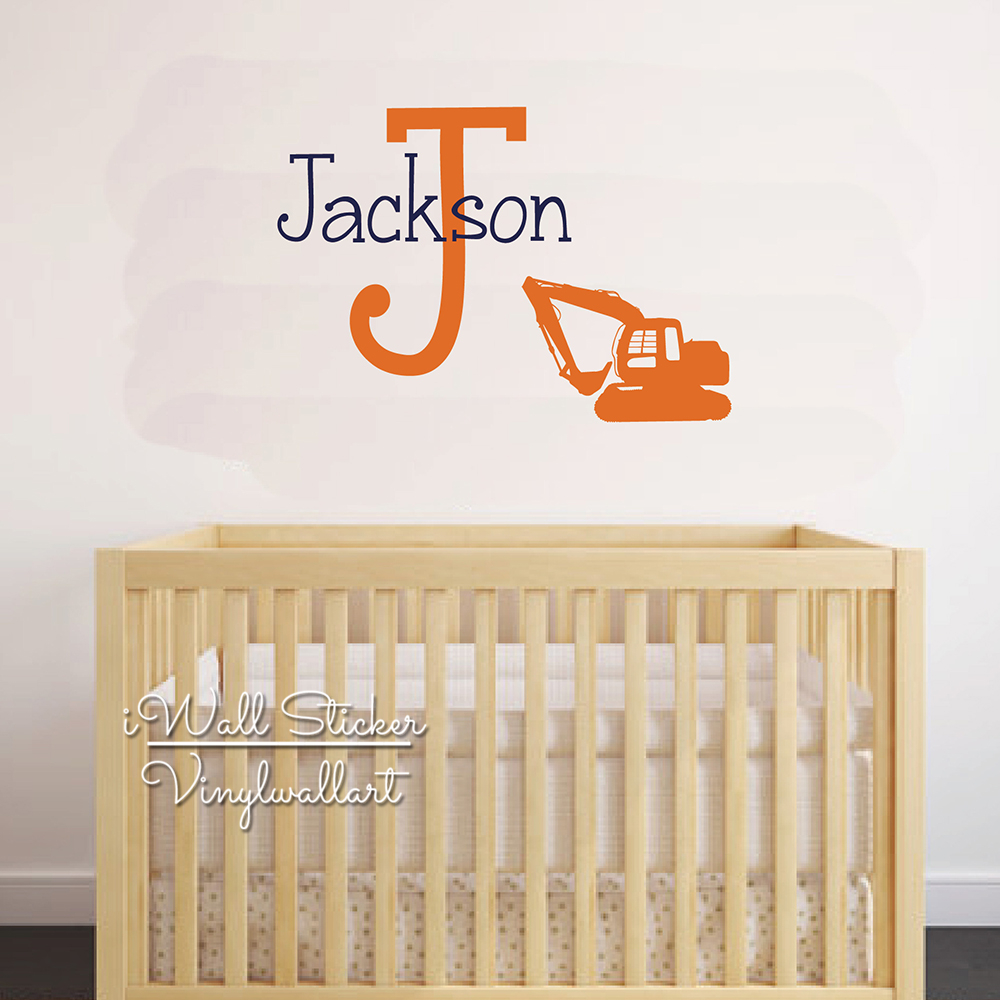 Grab Excavator Name Wall Sticker Baby Boy Custom Name Wall Decal Kids Room Cut Vinyl Sticker Personalized Name Decors C79