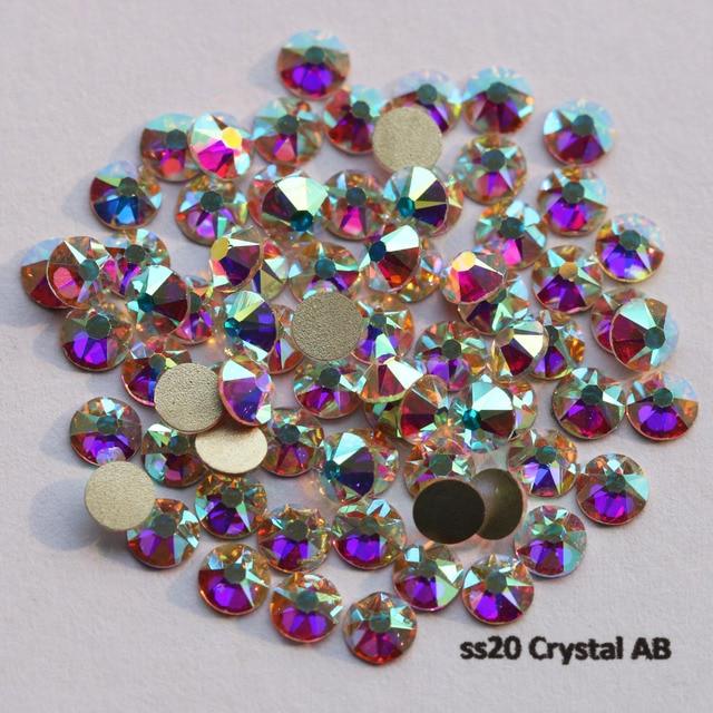 1440pcs/Lot, AAA New Facted (8 big + 8 small) ss20 (4.8 5.0mm) Crystal AB Nail Art Glue On Non hotfix Rhinestones