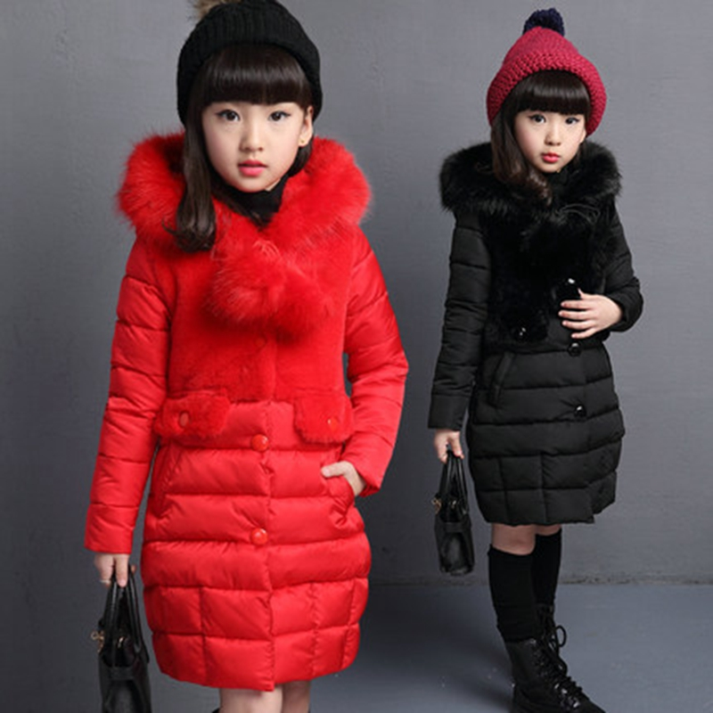 Fashion Medium-Long Girls Winter Coat Fur Hooded Children Clothing Thermal Cotton-Padded Jacket Kids Parka Outwear  TZ115