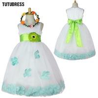 Retail Sashes Petals Flower Girls Dress Kids Baby Child Girl Wedding Performs Bridesmaid Party Dresses Princess