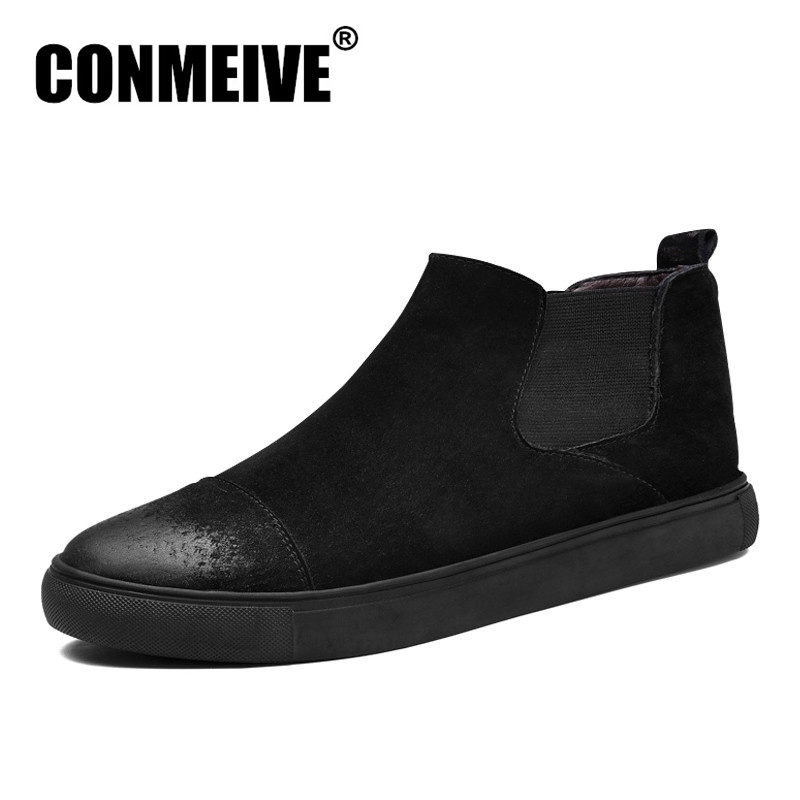 Hot Sale Winter Fashion Shoes Men Luxury Brand Loafers Genuine Leather Casual Mens Flat Ankle Boots