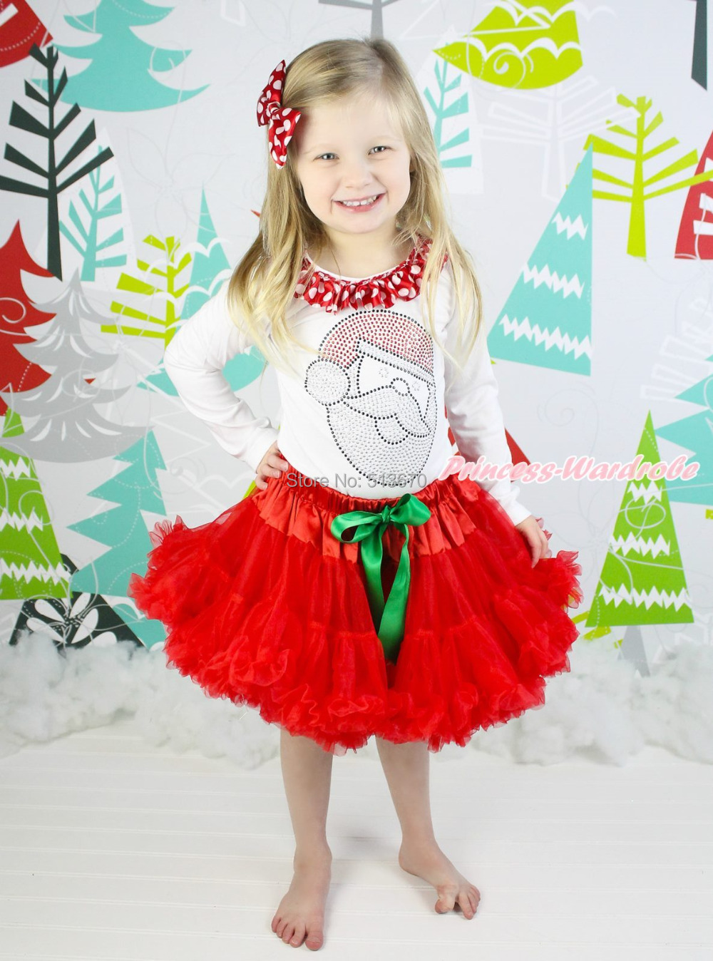XMAS Rhinestone Santa Claus White Top Hot Red Skirt Baby Girl Outfit Set 1-8Year MAPSA0082 xmas minnie snowman white shirt top santa claus skirt girl clothing outfit 1 8y