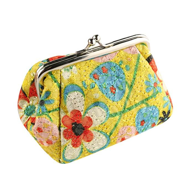 Hot Selling High Quality Women Lady Retro Vintage Flower Small Wallet Hasp Purse Clutch Bag New fashion Coin Purse For Girls