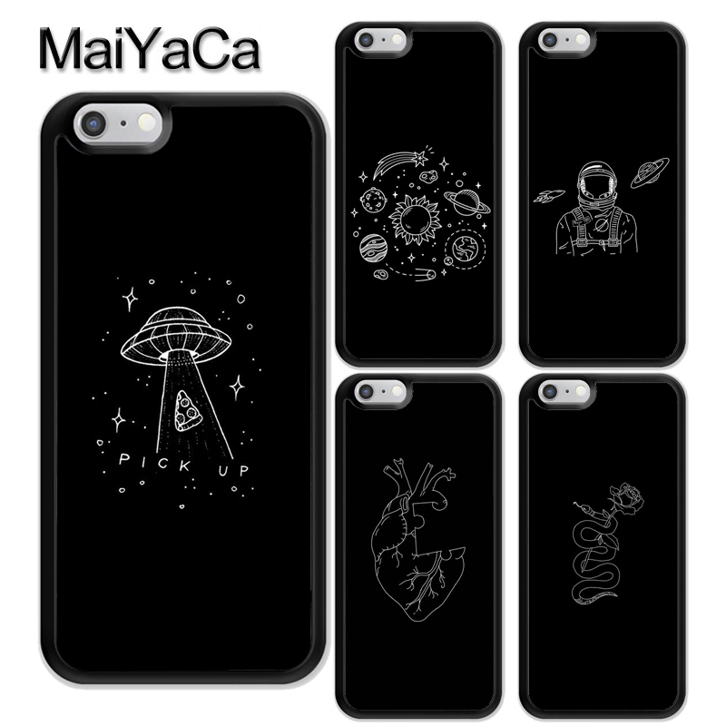 MaiYaCa Black Doodles Aesthetics Printed Soft TPU Coque Skin Phone Case For iPhone X XR XS Max 6