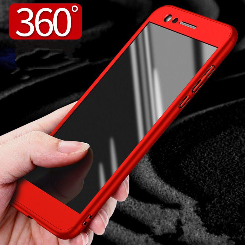 ZEALLION For Huawei P8 Lite 2017 Case New Hybrid 360 Degree Full Protective Hard PC With Tempered Glass