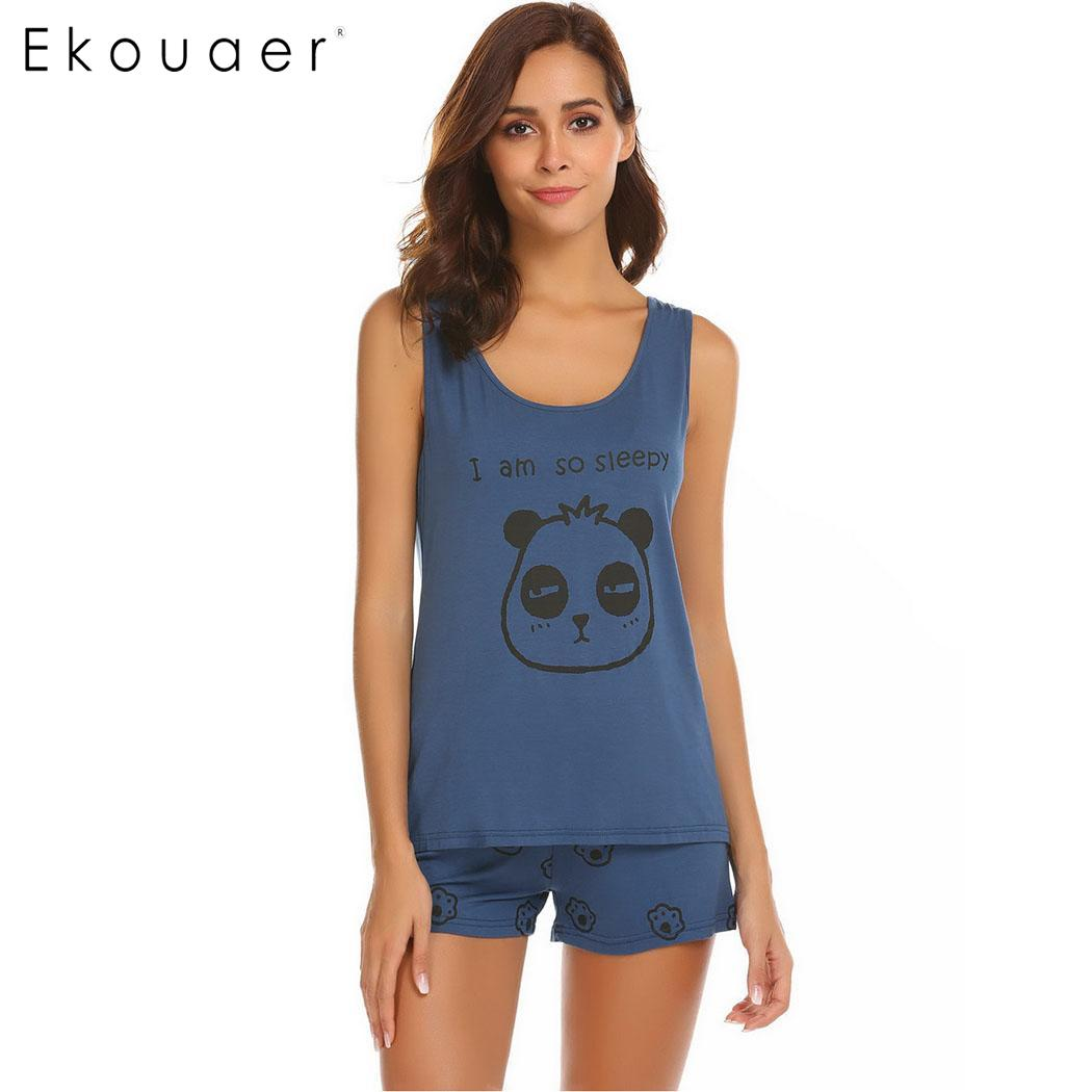 Ekouaer Women Casual   Pajama     Set   Letter Print Sleepwear Sleeveless Tank Top and Shorts   Pajamas     Sets   Short Pants Nightwear Clothes