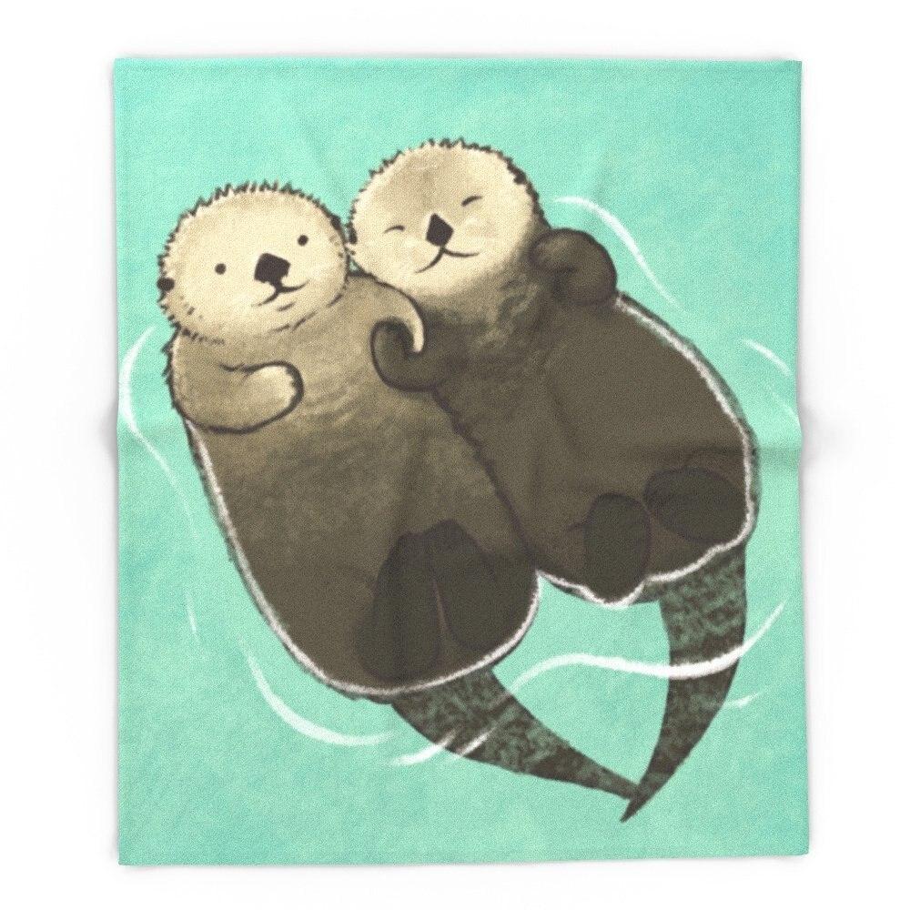 Blanket Custom Significant Otters - Otters Holding Hands Fleece Blanket Sofa/Bed/Plane Travel Plaids Bedding Towel