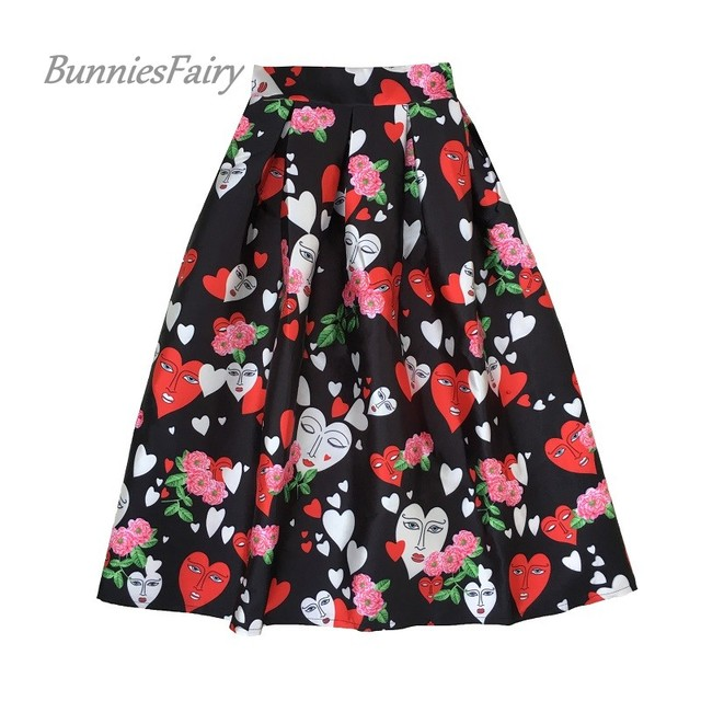 BunniesFairy Womens Poker Red Queen of Hearts Character Floral Print High Waist Midi Skirt Halloween Costumes Carnival Party
