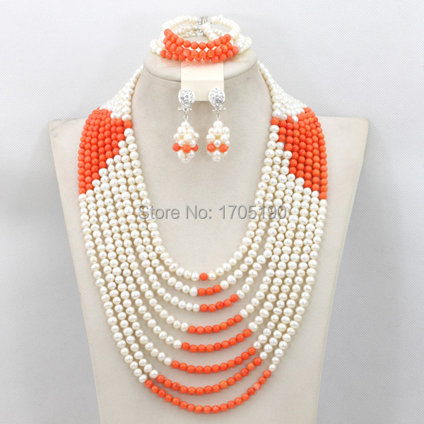 Luxury African Wedding Pearl Jewelry Set Romantic Layers Pearl Bridal Necklace Set Coral Beads Jewelry Gift Free Shipping PJ001