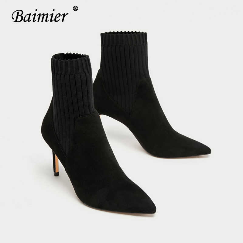 Baimier Black Suede Women Boots Stretch Fabric Ankle Boots For Women Pointed Toe High Heels Women Boots Slip On Women Sock Boots