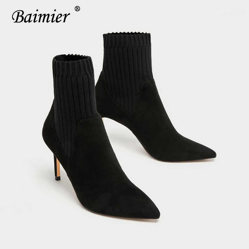 Baimier Black Suede Women Boots Stretch