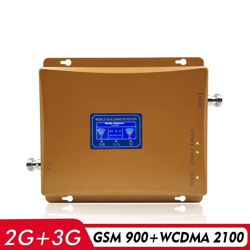 65dB Dual Band Booster GSM 900+WCDMA UMTS 2100 MHz Cell Phone Repeater Mobile Signal Booster Cellular Amplifier with LCD Display65dB Dual Band Booster GSM 900+WCDMA UMTS 2100 MHz Cell Phone Repeater Mobile Signal Booster Cellular Amplifier with LCD Display