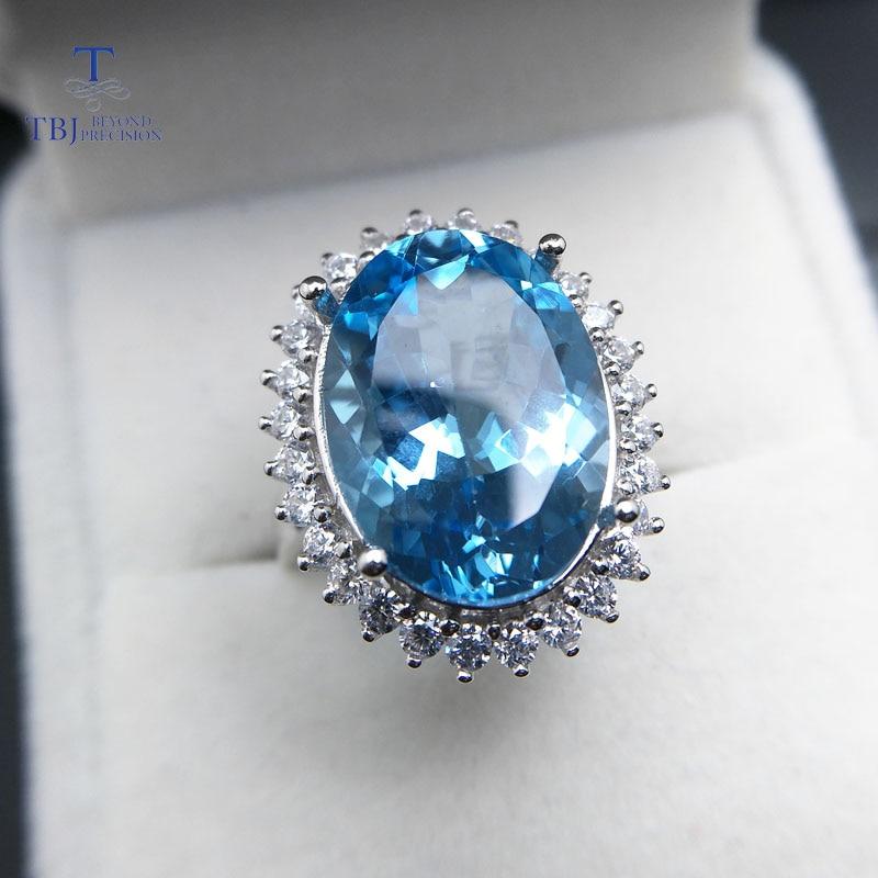 TBJ, Diana's ring met 14ct natural sky blue topaz edelsteen in 925 zilver, klassieke en elegante ring voor vrouwen als verjaardagscadeau-in Sieradensets van Sieraden & accessoires op  Groep 3