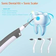 4 في 1 مجموعة الأسنان سونيك قشارة الفولاذ + مزيل البقع الملمع والتدليك LED أداة إضاءة DIY.