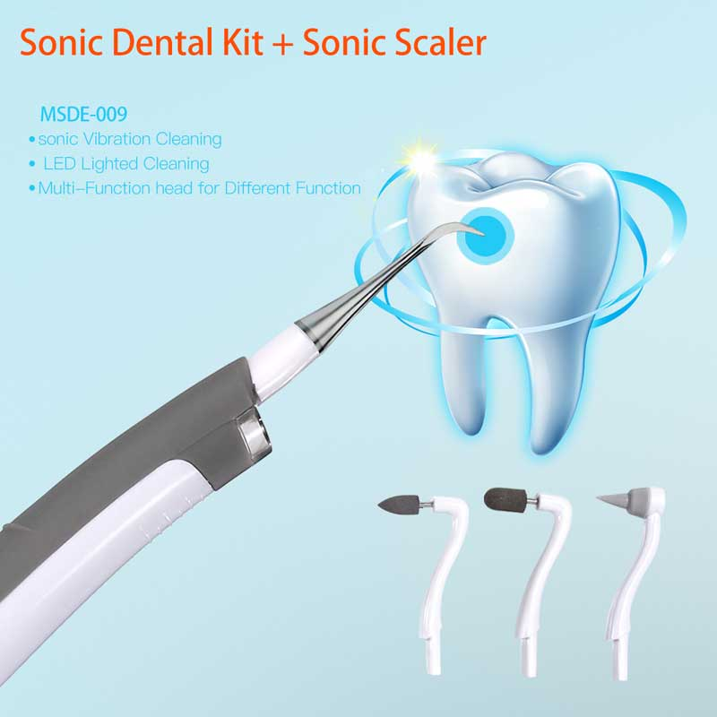 4 In 1 Sonic Dental Kit Stainless Scaler + Stain Remover Polisher And Massage LED Lighred DIY Instrument.