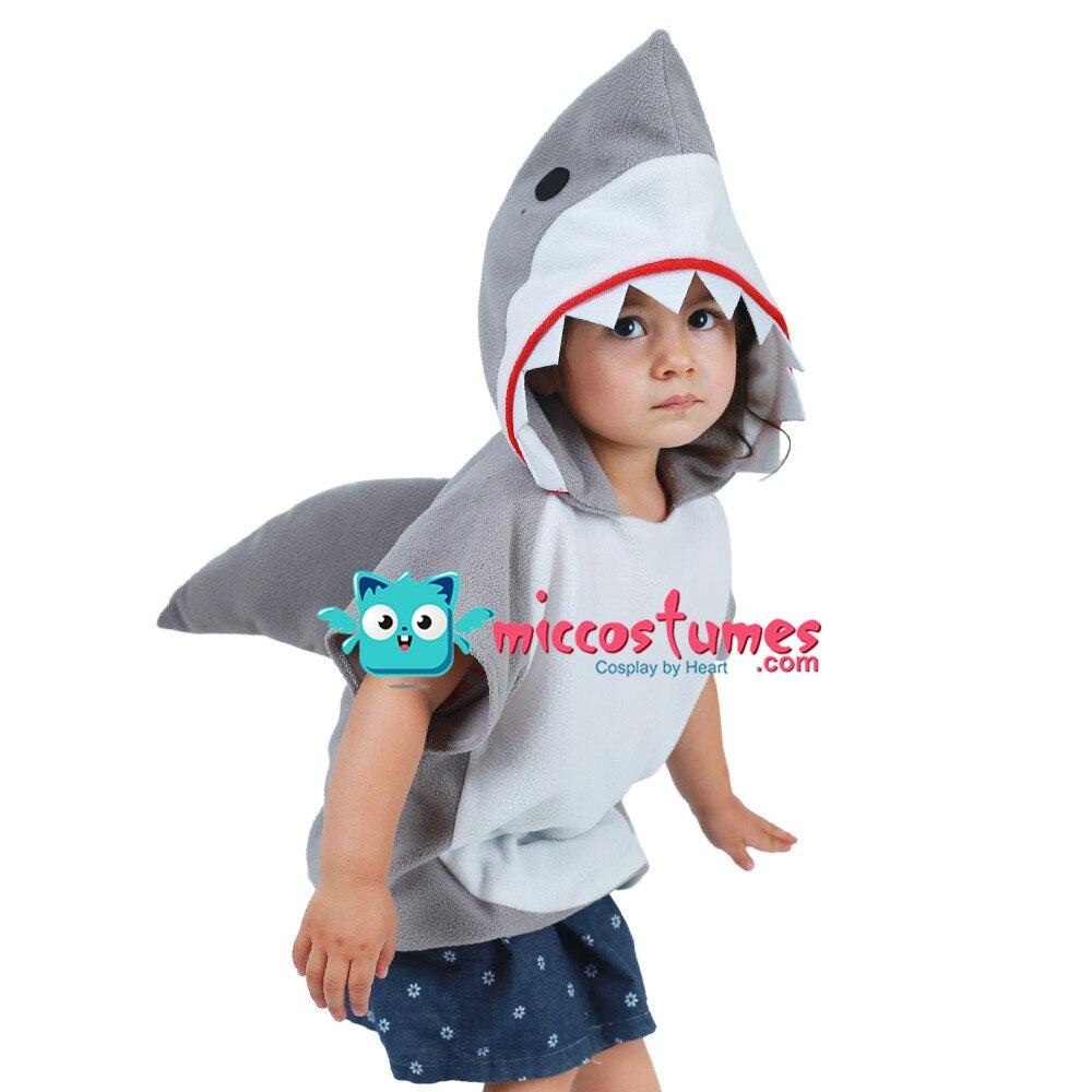 Kids Little Shark Grey Red Green Pink Yellow Blue Halloween Costume Mascot Hoodie