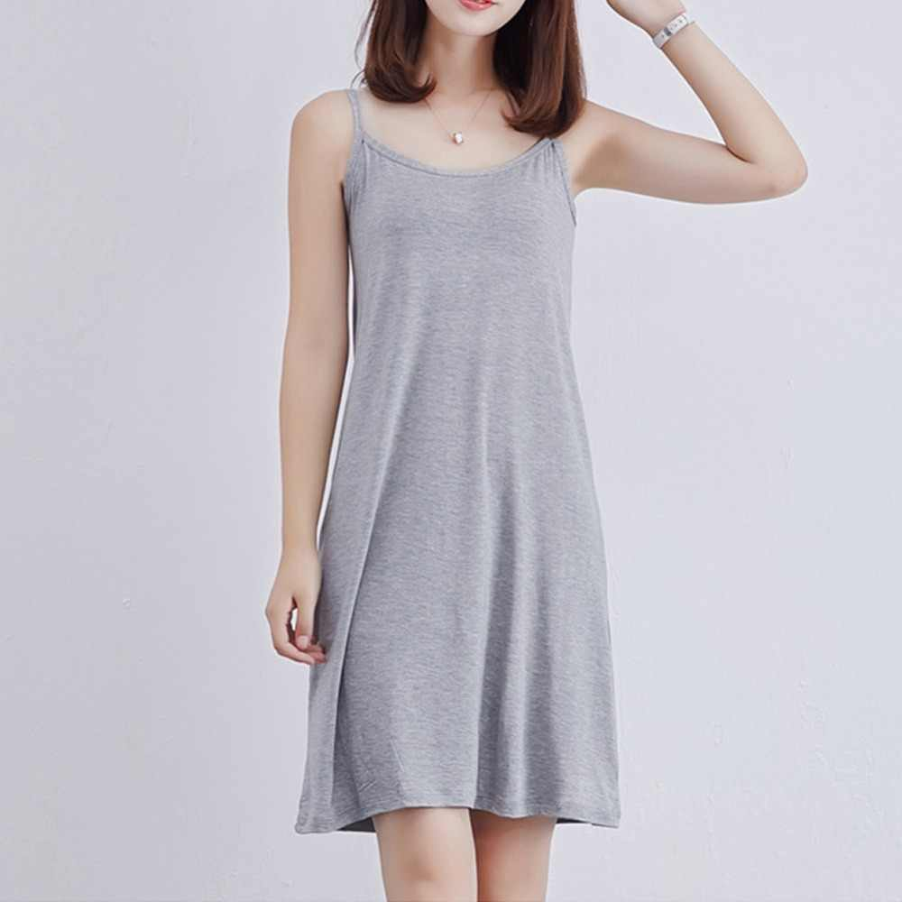 61ad7b139ff 2018 Women Sexy Strap Full Slips Dress Modal Long Underdress Sleeveless Plus  Size Cotton Bottoming Straight