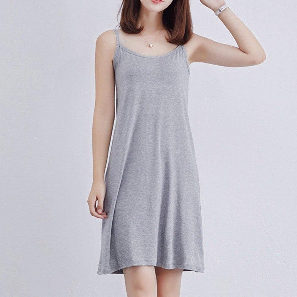 2018 femmes Sexy sangle pleine slip robe Modal longue sous-robe sans manches grande taille coton fond droit jupon Femme