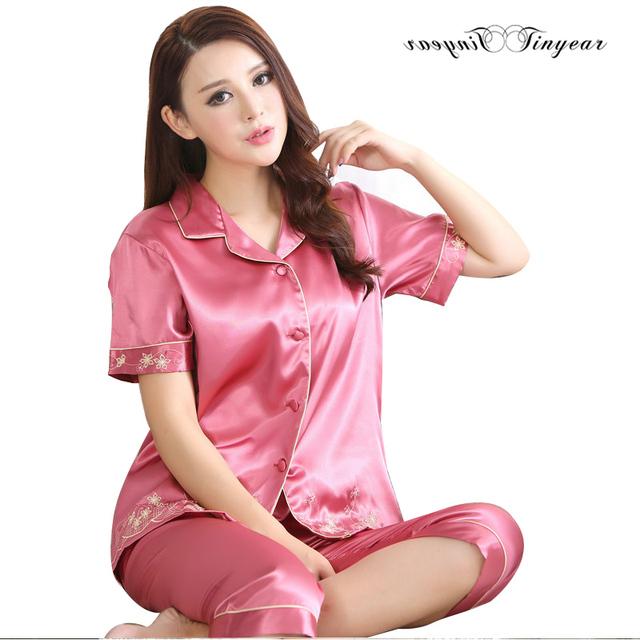 Mayorista de las mujeres pijamas de verano más tamaño sexy cuello en v bordado conjunto pijama de seda suave transpirable desgaste de la noche envío gratis